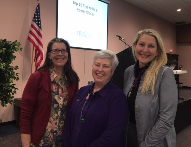 Speaker Kathleen Kurke (C); Sponsors Pat Turner/EMInfo (L) and Judy Collins/Evergreen Contract Resources (R)